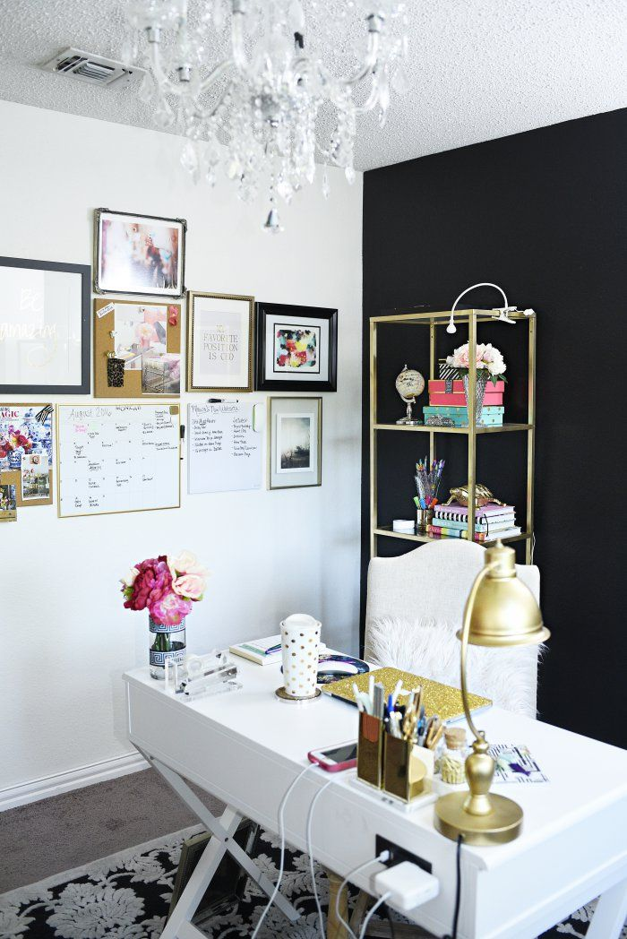 Vintage A glam and gold home office featuring office supplies and decor from Target The gallery