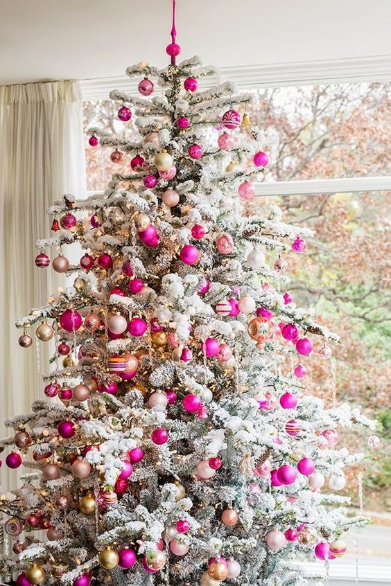 romantic tree with hot pink, blush and gold ornaments for Christmas ...