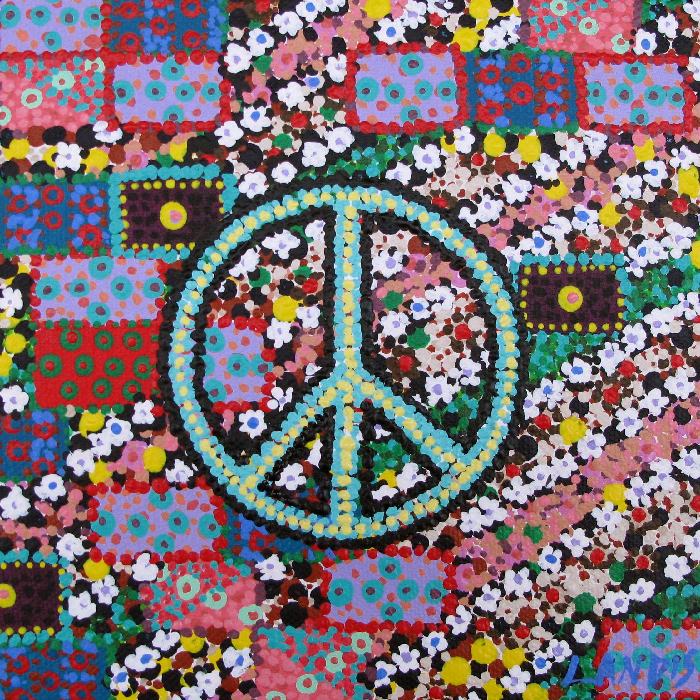 Love flower power daisy graffiti print cotton fabric 60s 70s retro - Flower Power At Charmingwall