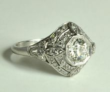 Art Deco Geometric Design Diamond Ring