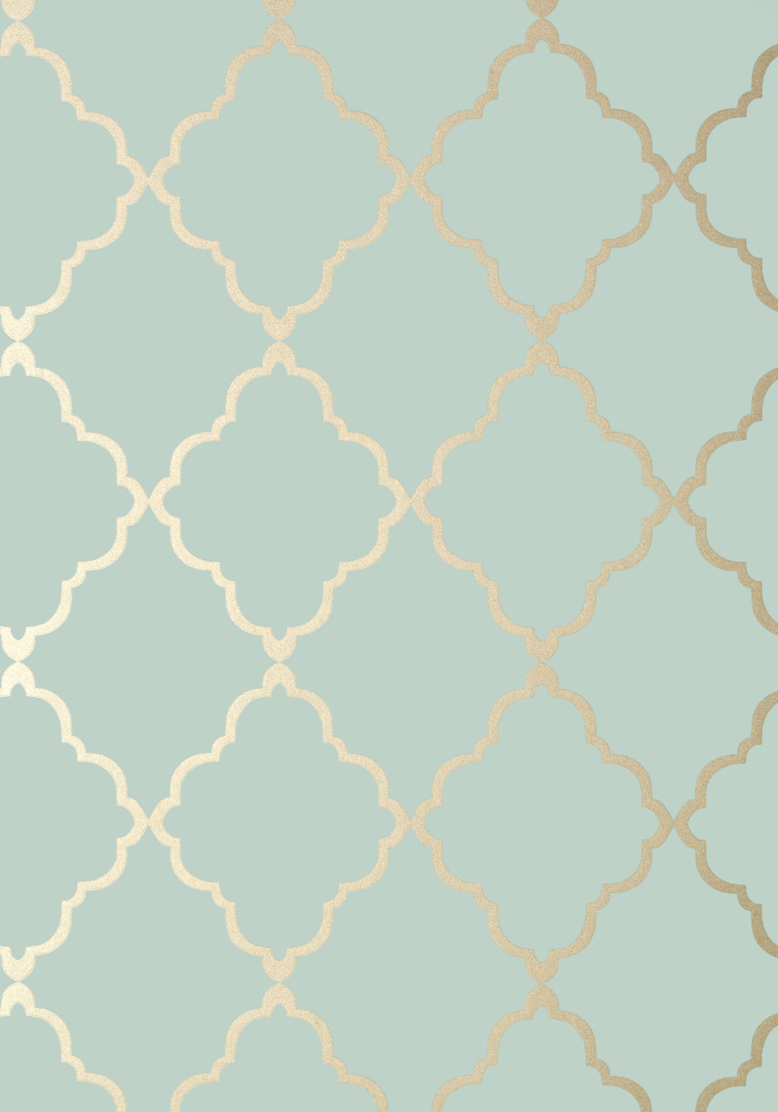 Klein Trellis Metallic Gold On Aqua At6058 Collection Seraphina From Anna French