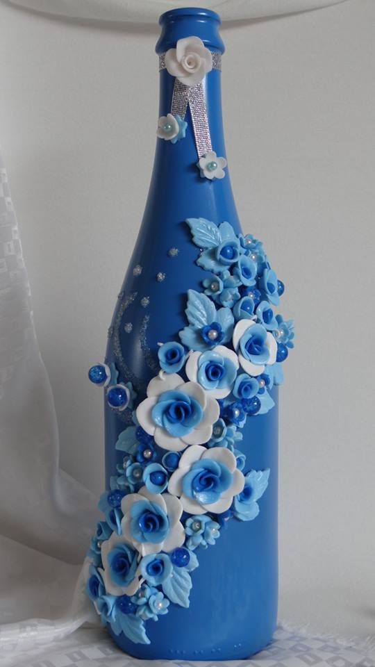 Polymer Clay Decorated Wine Bottles Clay Vase Wooden