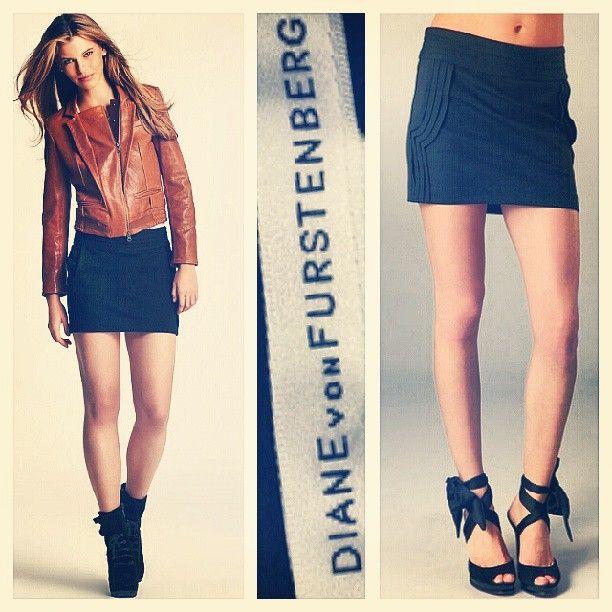 DVF Diane von Furstenberg $225 'mini plateau' black jersey skirt w/decorative pleating sz.2 @resaleriches price: $90 www.resalerichesnyc.com