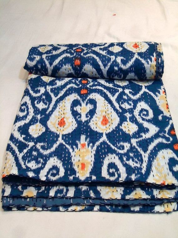 Tiwn kantha Quilt/ Blue Ikat Kantha quilt by Bhagyodayfashions  Good Blue and Orange combo for fabric idea