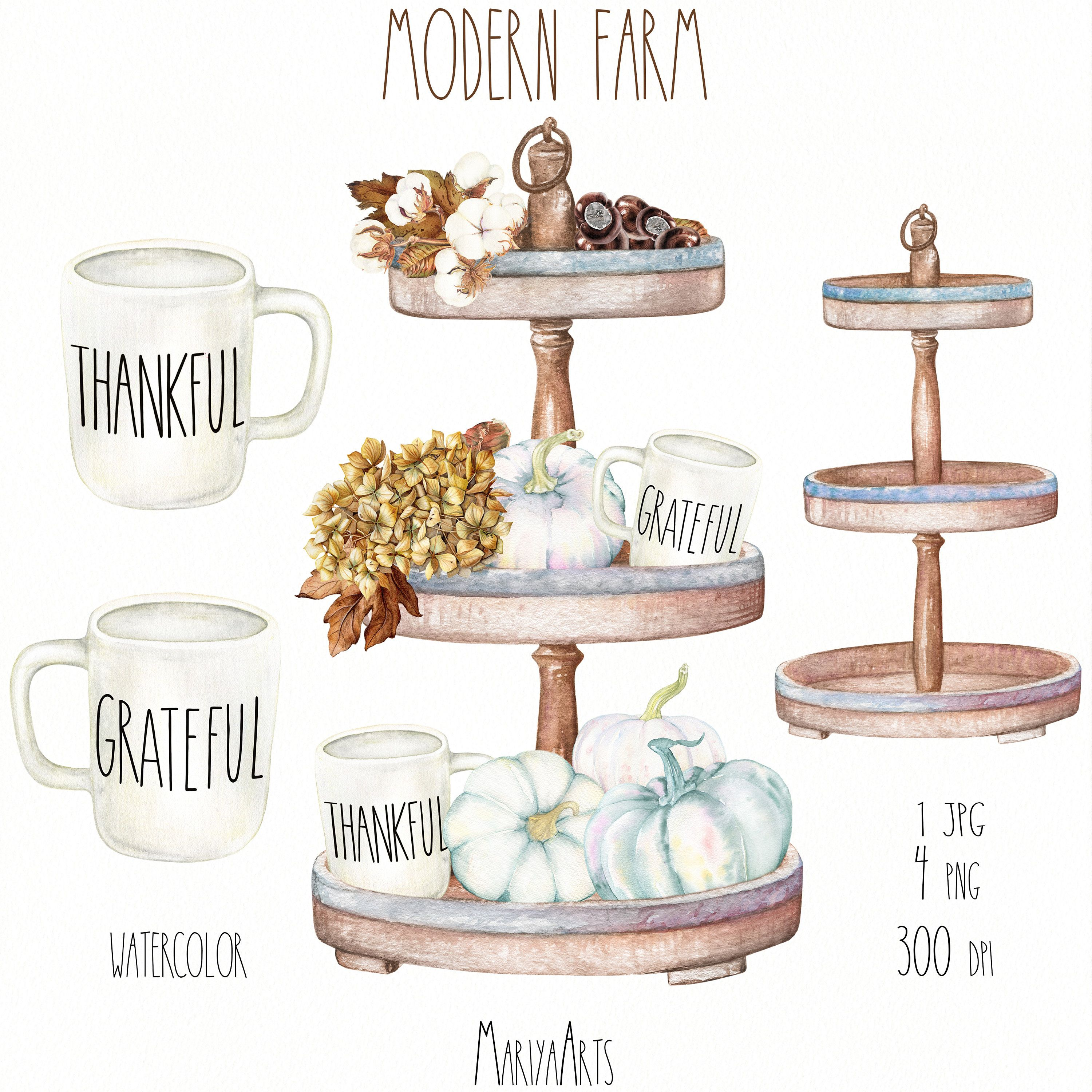 Tiered Tray Clipart, Modern Farmhouse, Watercolor Fall ...