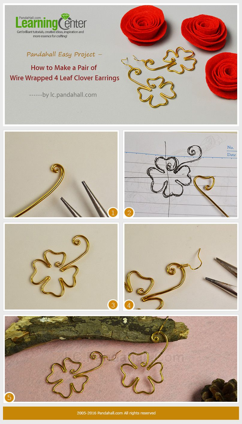 Pandahall Easy Project – How to Make a Pair of Wire Wrapped 4 Leaf ...