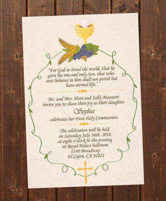 Printable First Holy Communion Invitation E Card First Holy Etsy Confirmation Invitations First Communion Invitations Holy Communion Invitations