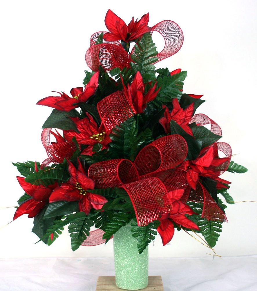 Beautiful Red Poinsettia's Christmas Cemetery Flower