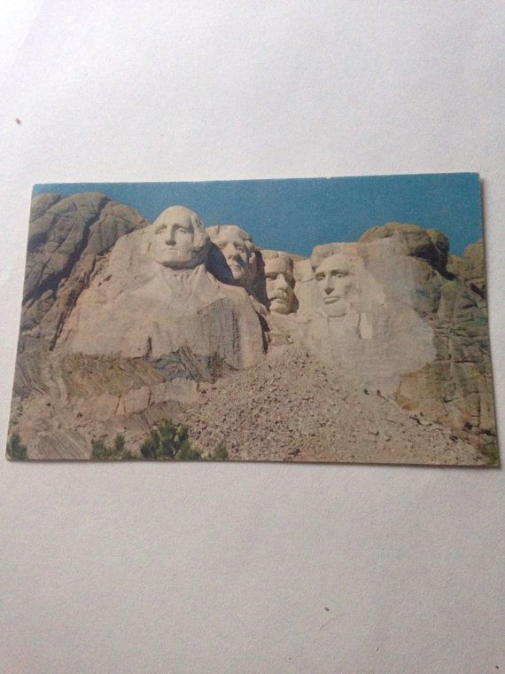 Vintage Picture Postcard Mt Rushmore by LooseChipsWoodWork on Etsy