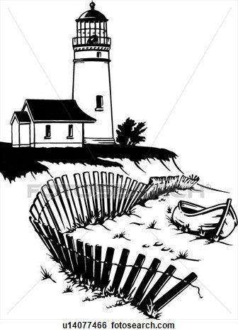 Illustration, lineart, lighthouse, nautical, marine, beacon Clip Art | u14077466
