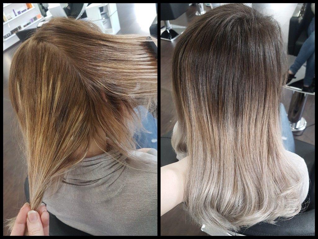 Balayage korrektur vorher nachher braun blond k hl olaplex haare und beauty pinterest - Balayage braun blond ...