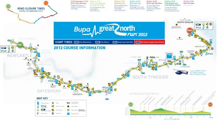 bupa great north run course 16th sept 2012 - I'll be there :-)