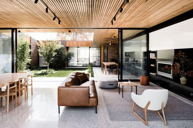 Courtyard House Interior Sliding doors Wood Ceiling Enclosed Garden Living room Terrace
