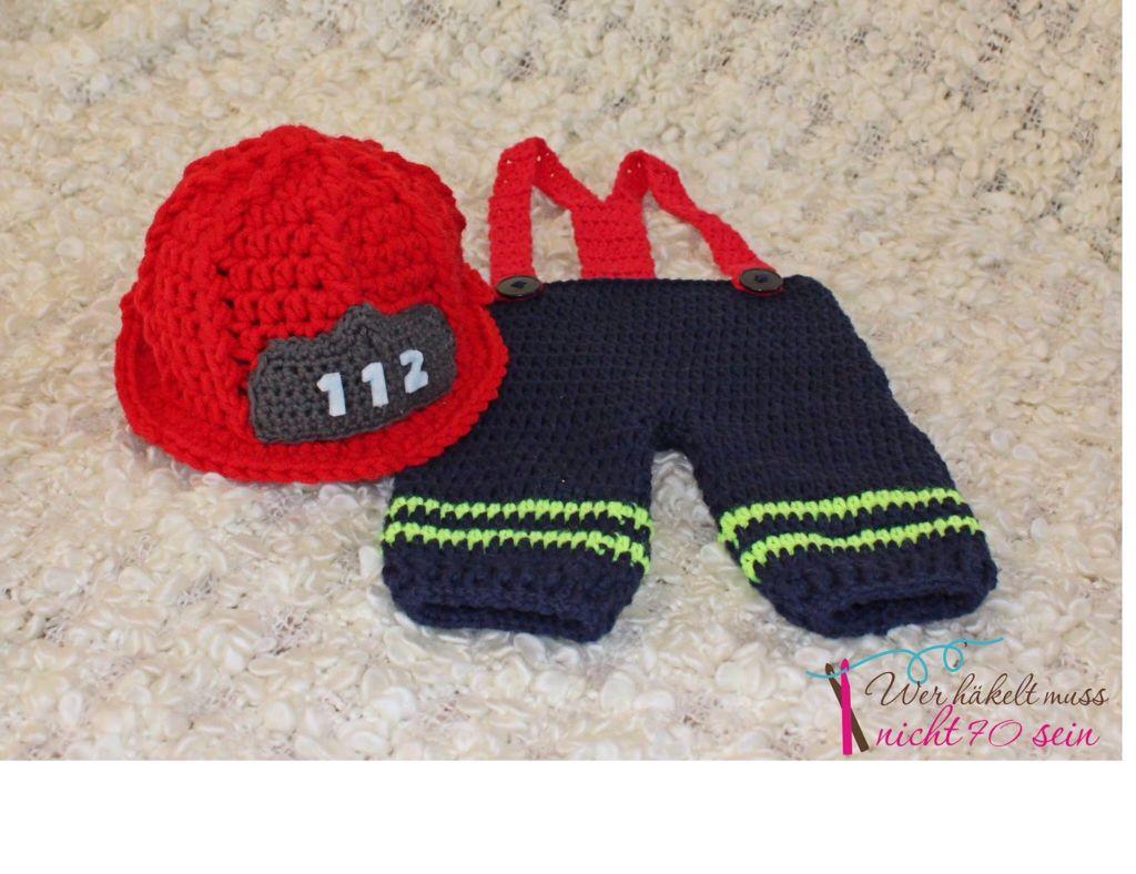 Gehäkelter Feuerwehrhelm & Hose / Crochet Firefighter | Photoprops ...