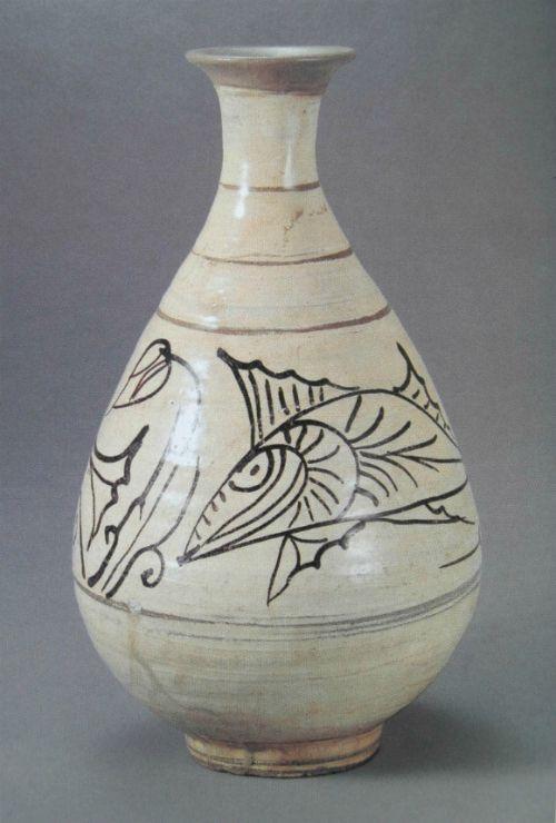 분청사기철화연꽃물고기무늬병 粉靑沙器鐵畵蓮魚文甁 Buncheong 분청 Pottery Art