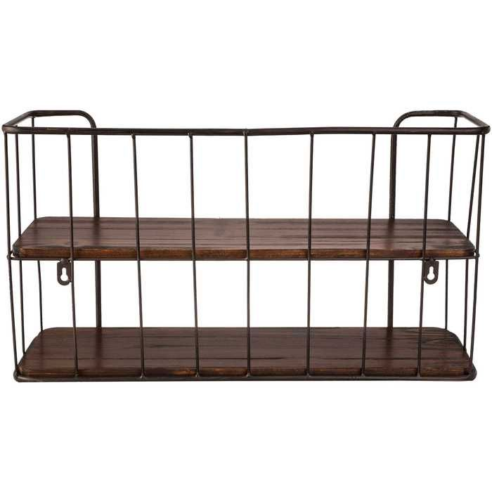 Brown Two Tiered Metal Wall Shelf Metal Wall Shelves Brown Wood Shelves