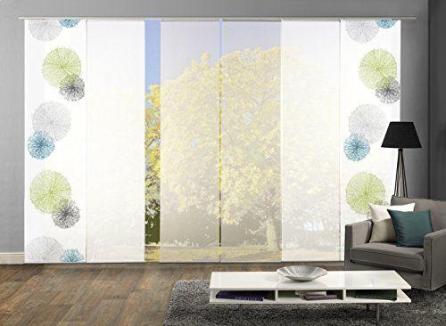 Wohnideen Fenstergestaltung 6er set flächenvorhang scoppio höhe 245 cm 2x dessin blau gruen 4x uni weiss home