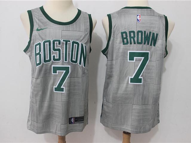 low priced 9aefa c8668 Boston Celtics #7 Jaylen Brown Gray City Edition Swingman ...