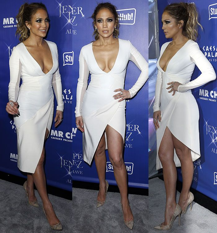 Jennifer lopez white dress las vegas