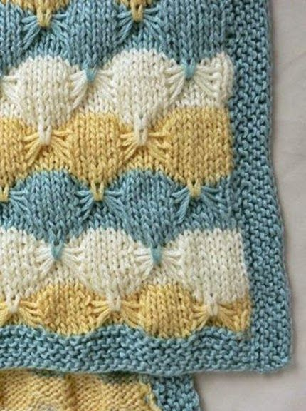 Hand Knitting Patterns Free : Hand Knitting Tutorials: Little Butterfly Baby Blanket - Free Pattern Croch...
