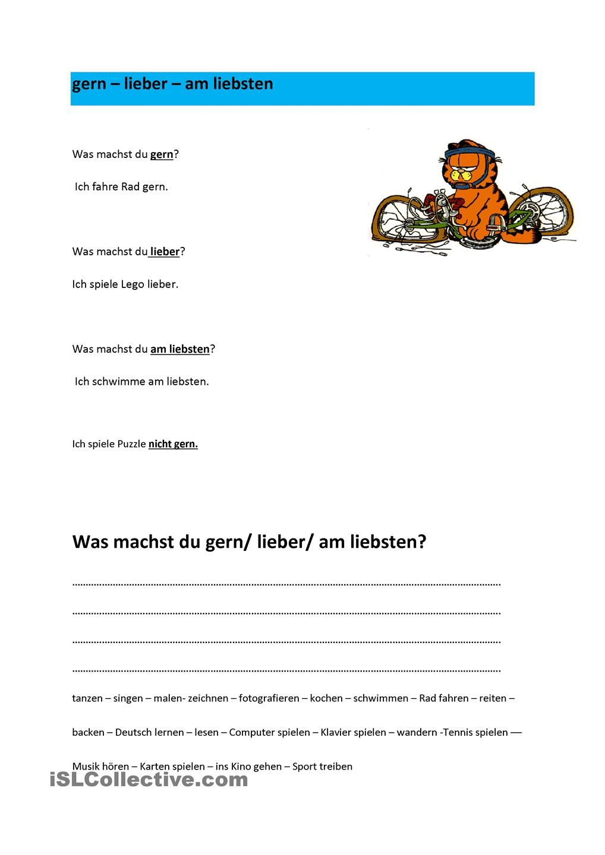 was machst du gern / lieber/ am liebsten | Deutsch, Deutsches ...