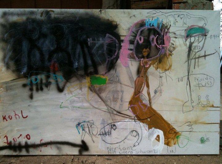"""""""Eiertanz mit einem Schwanz"""", 105 x 160 cm, 2010"""