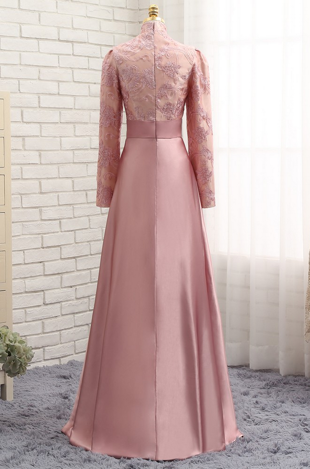 40eabf12a612 Pink Muslim Evening Dresses A-line Long Sleeves Satin Sequins Elegant Long  Evening Gown Prom Dress P on Luulla