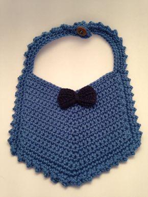 Items similar to Crochet Drool Bib, Vintage Style Bib, Baby Bib, Crochet Bib with Mini Bow on Etsy