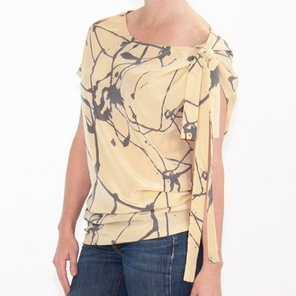 Robert Rodriguez Abstract Print Silk Tunic/Dress Robert Rodriguez Matte Yellow & Gray Silk Abstract Print Tunic/Mini Dress. Impeccable condition. Robert Rodriguez Tops Tunics