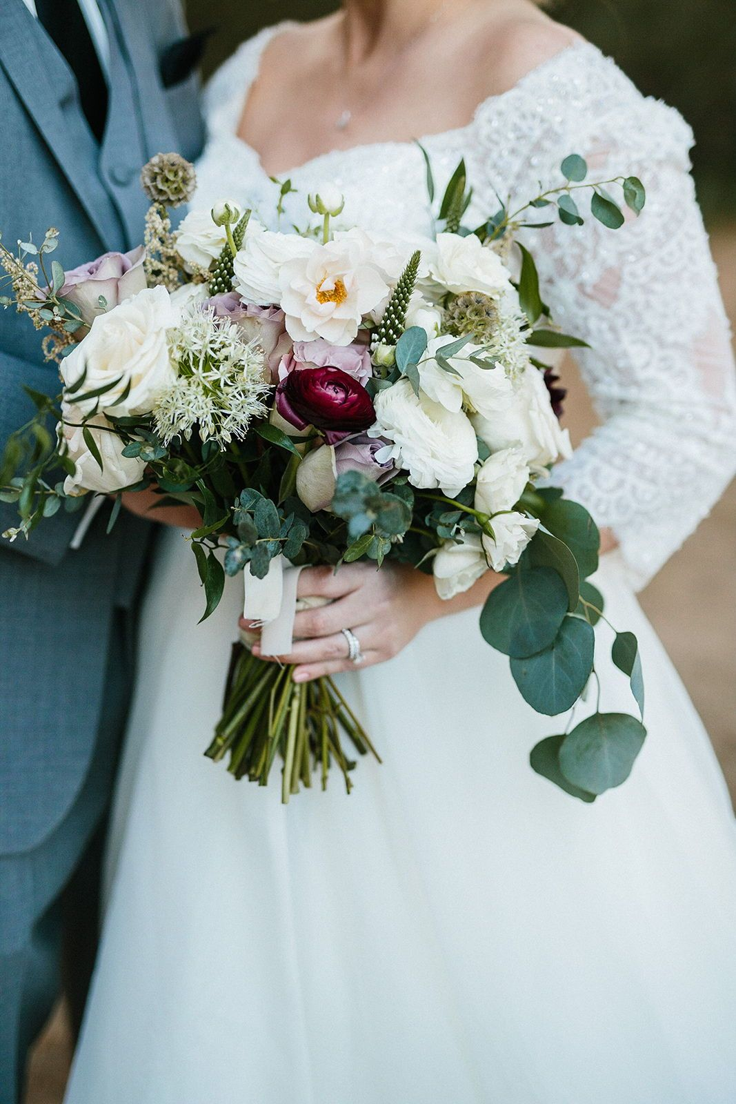 Winter Wedding Bouquet At Arizona Wedding Featuring Eucalyptus Greenery Roses Ranunculus And Winter Wedding Bouquet Red Wedding Flowers Bridal Bouquet Spring