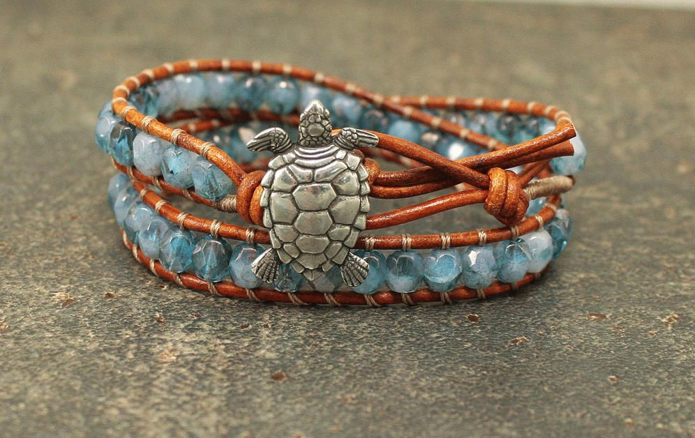 Bold Turtle Bracelet Silver Blue Turquoise Turtle Jewelry