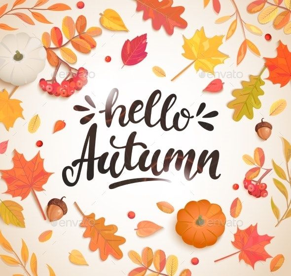 Hello Autumn Banner in Frame of Autumn Leaves #helloautumn