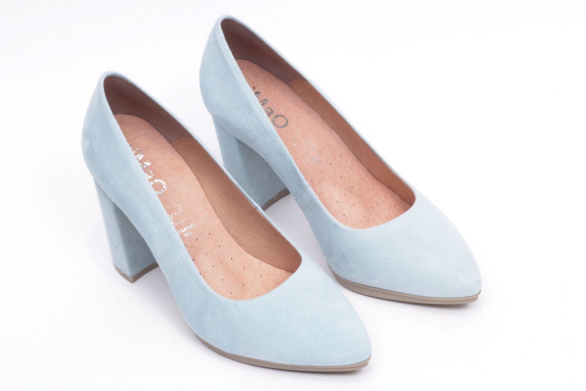 f0e61fa7 miMaO Urban Azul Bebé – Zapato mujer de tacon salones azul vestir cómodo -  women high