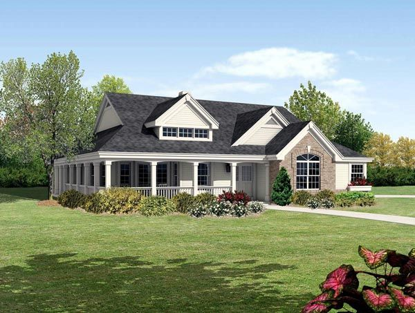 Traditional Style House Plan 95810 With 2 Bed 2 Bath 2 Car Garage Farmhouse Style House Plans Porch House Plans Ranch House Plans