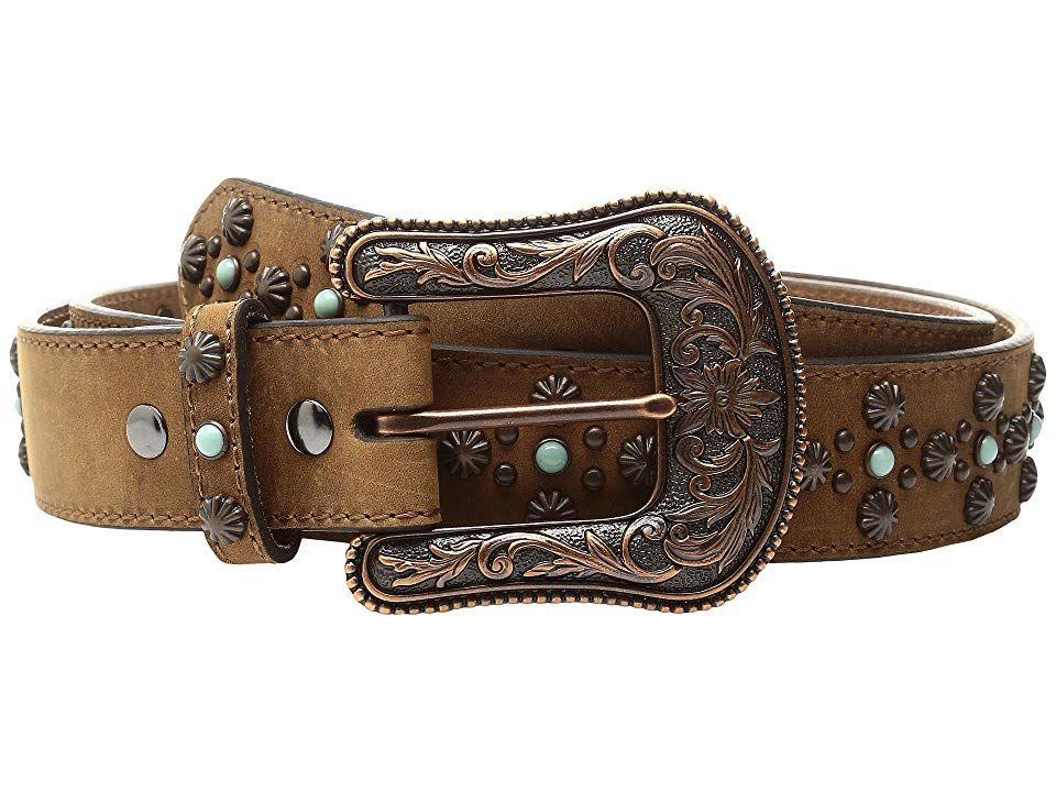 Ariat Nailhead Belt Tan Womens Belts The modern Western style of the Ariat Nailhead Belt will appeal to your sophisticated cowgirl heart Genuine leather belt with a beaut...