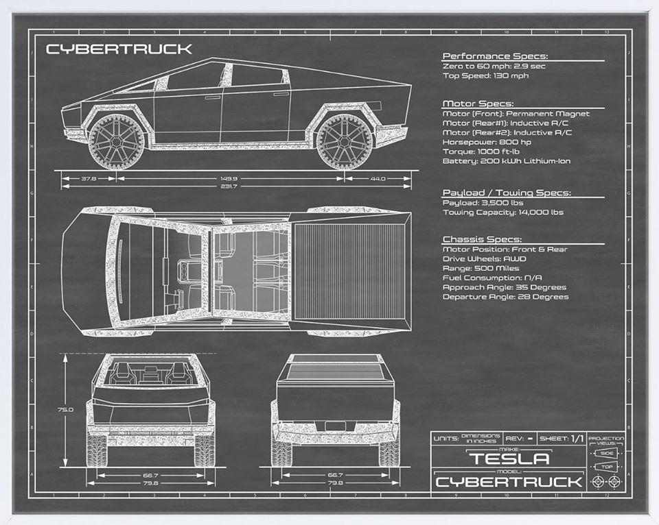 Cybertruck Blueprint Tesla Blueprints Sports Cars Luxury