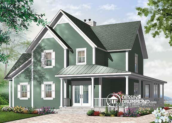Plan de maison champêtre 4 chambres ou modèle de chalet 4 chambres