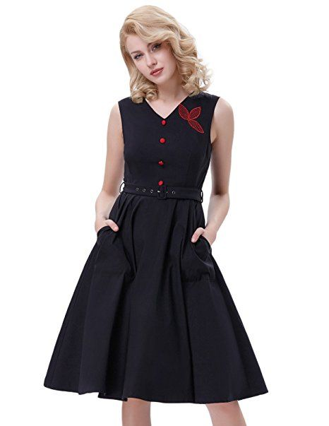 72159a254d7 Belle Poque Women s Sleeveless V-Neck 50s Swing Vintage Dress ...