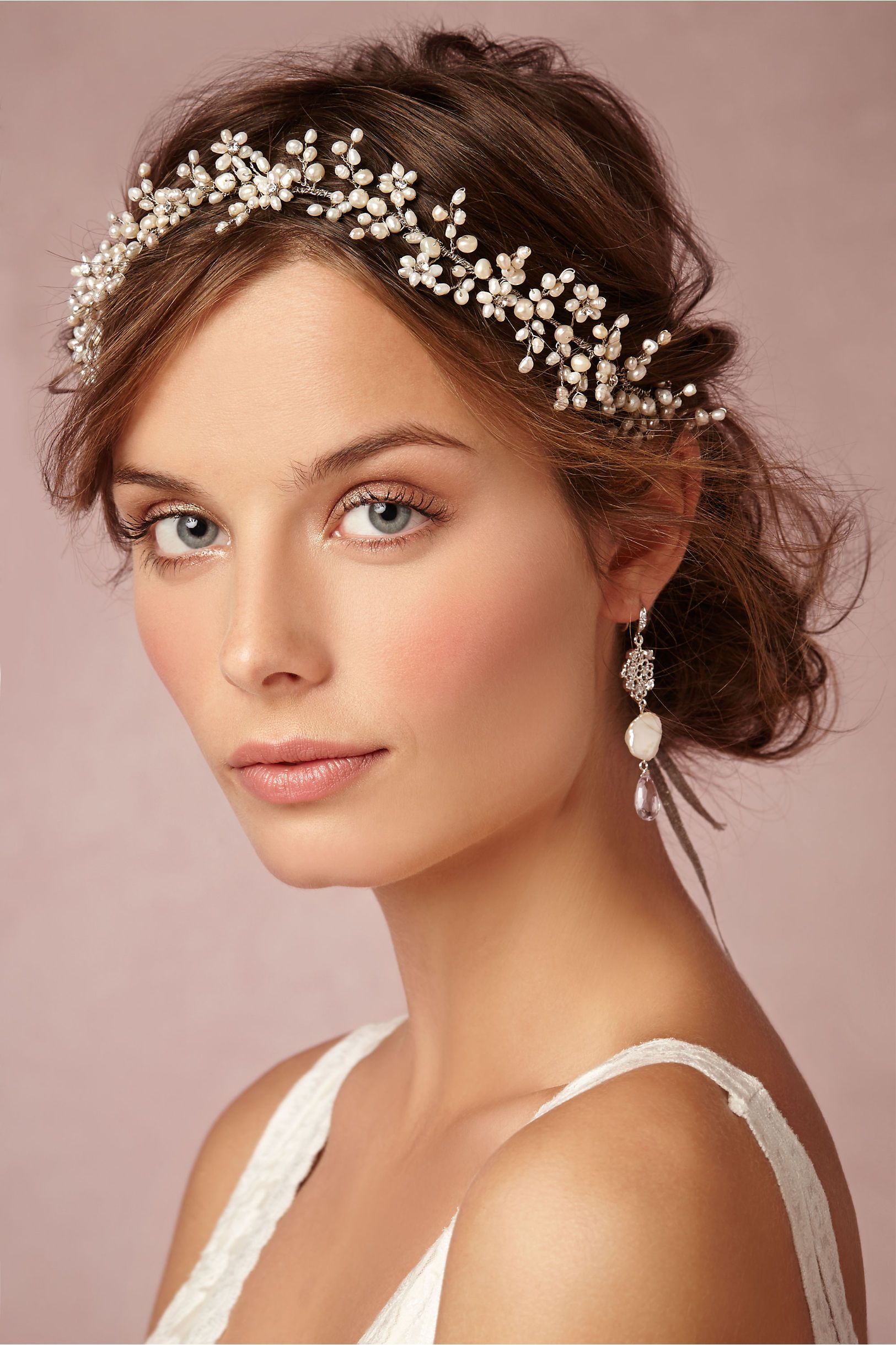 Pearly Dreams Halo Bridal Makeup Bridal Makeup Looks Headpiece