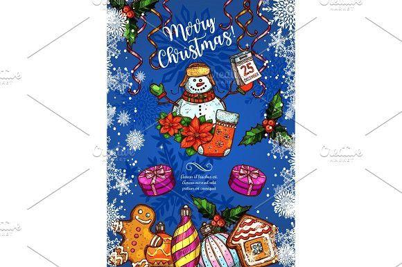 Christmas holiday vector sketch greeting card Calendar Templates