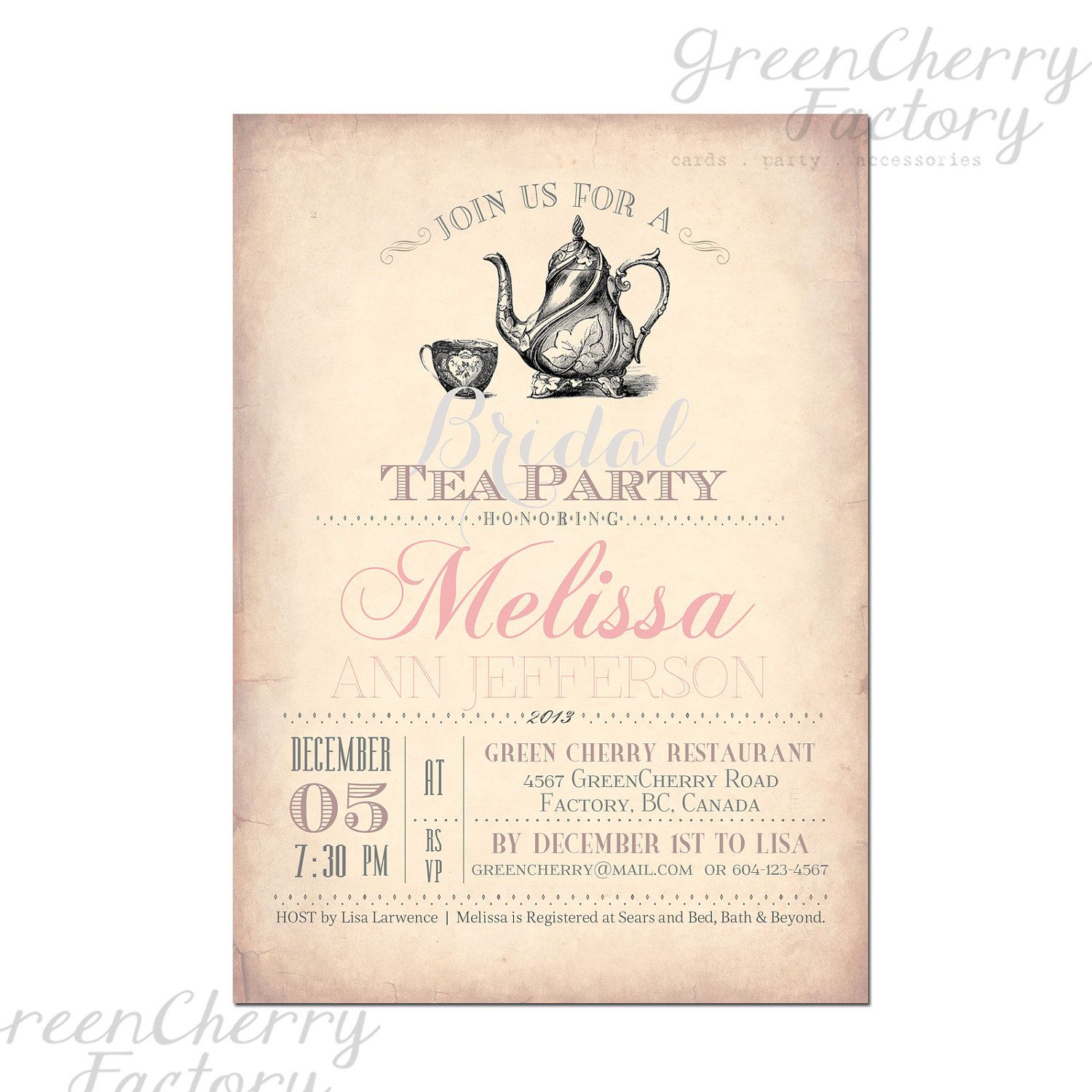 Typography tea party invitation typography poster design bridal items similar to bridal tea party invitation bridal shower baby shower tea party any occasion printable no312 on etsy filmwisefo