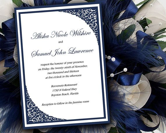 Dark Blue Wedding Invitations: DIY Wedding Invitation Template
