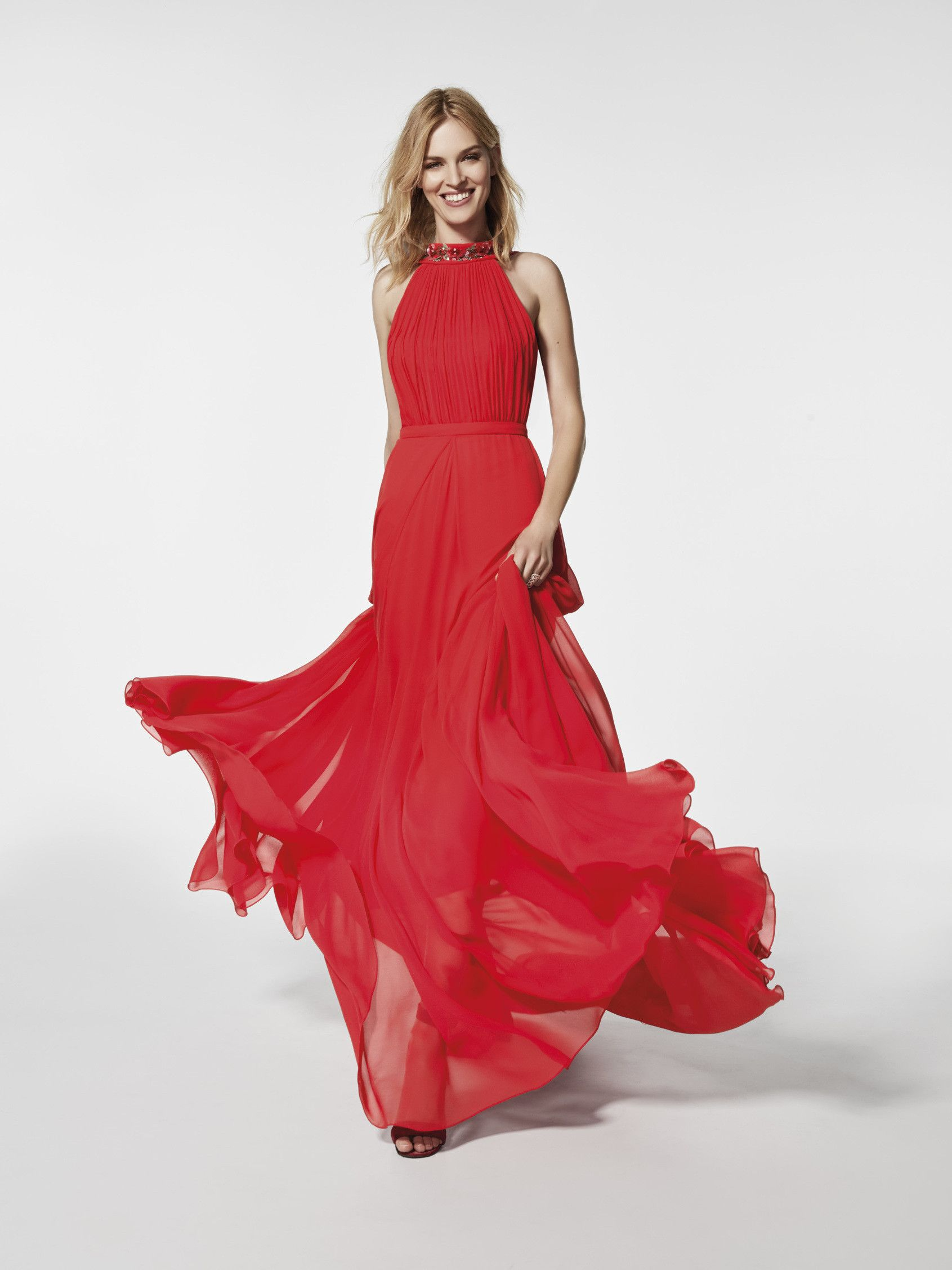 29a53cec7 Cocktail dress (GRAMA model) in red with a halter neckline at the front and  a V back. Long