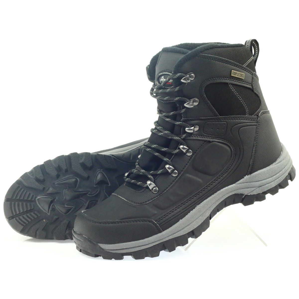 American Club American Trekkingi Buty Zimowe Z Membrana Czarne Shoes Hiking Boots Boots