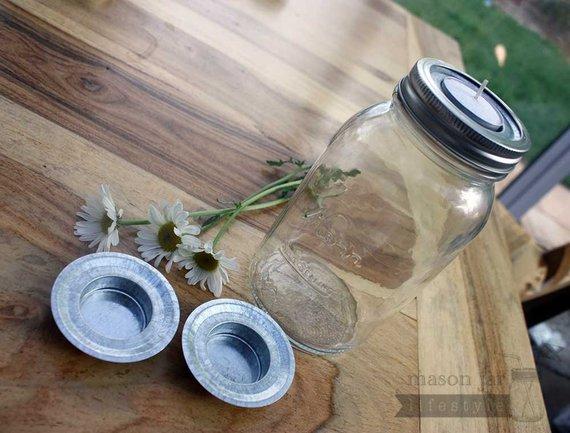 Mason Jar Candle Holder 6 Pack Tea Light Lid Holder Inserts For