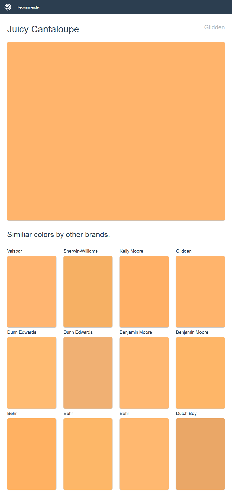 Juicy Cantaloupe Glidden Click The Image To See Similiar Colors By Other Brands