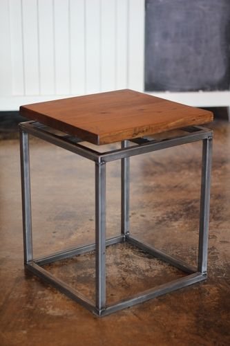 Floating Top, Steel Base End Table