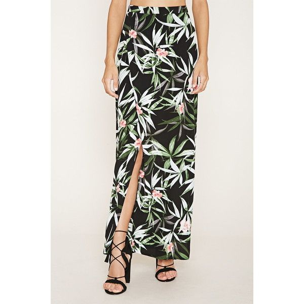 c5db2d8ec586 Forever 21 Women's Tropical Floral Maxi Skirt ($23) ❤ liked on Polyvore  featuring skirts, forever 21 skirts, floor length skirt, forever 21 long  skirts, ...