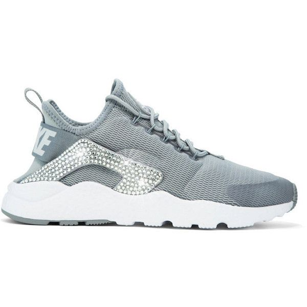 release date f35a9 98ceb Nike Air Huarache Ultra Stealth White Blinged Out Swarovski Crystal ( 175)  ❤ liked on Polyvore featuring shoes, silver, sneakers   athletic shoes, …