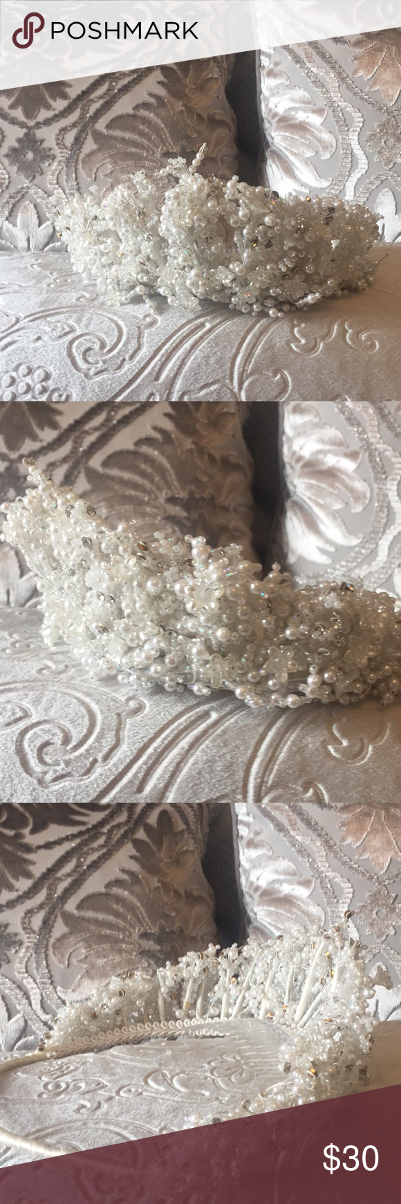 Bridal Crown In 2018 My Posh Closet Pinterest Hanvin Pochette 25 Green Bamboo With Pearls And Crystals Accessories Hair